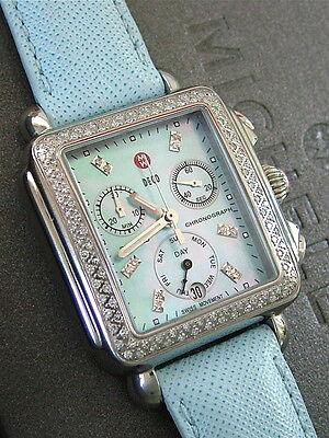 STUNNING MICHELE DIAMOND BLUE DECO WATCH (MW06P01A1066) BOX, BRACELET & STRAP