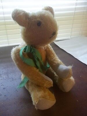 """VINTAGE ANTIQUE  TEDDY BEAR 11"""" BEAR JOINTED GOLDEN ADORABLE STEIFF ? UNKNOWN"""
