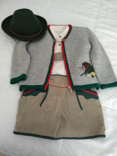 Boys authentic lederhosen outfit shorts, shirt, sweater and hat
