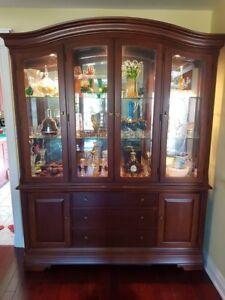 Heavy solid Thomasville display/kitchen cabinet