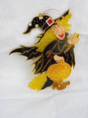 Vtg Halloween Plastic Faux Stained Glass Witch Broom Jack-O-Lantern Window Decor