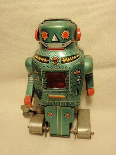 Vtg Made in Japan Noguchi Wind Up Mighty Robot Tin Toy Sparks