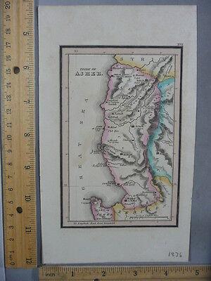 Rare Antique Orig VTG 1836 Leavitt Lord Tribe Of Asher Syria Map Engraved Print