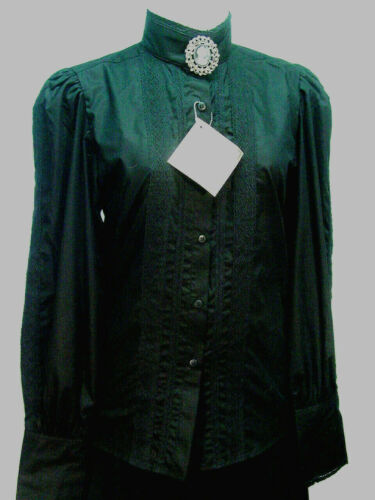 Victorian Black Grace Blouse Frontier Classics Pioneer Old West Free Brooch S-3X
