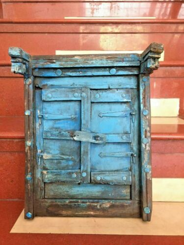 VINTAGE OLD WOODEN HANDMADE ANTIQUE  IRON  FITTED RARE SHUTTERED WINDOW DOOR