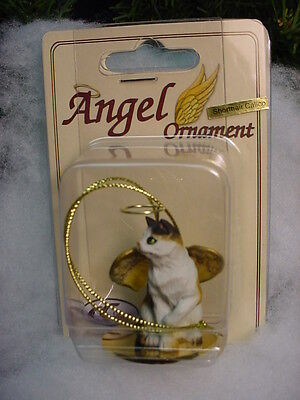 CALICO Kitty CAT ANGEL Ornament HAND PAINTED Resin Figurine NEW kitten Christmas