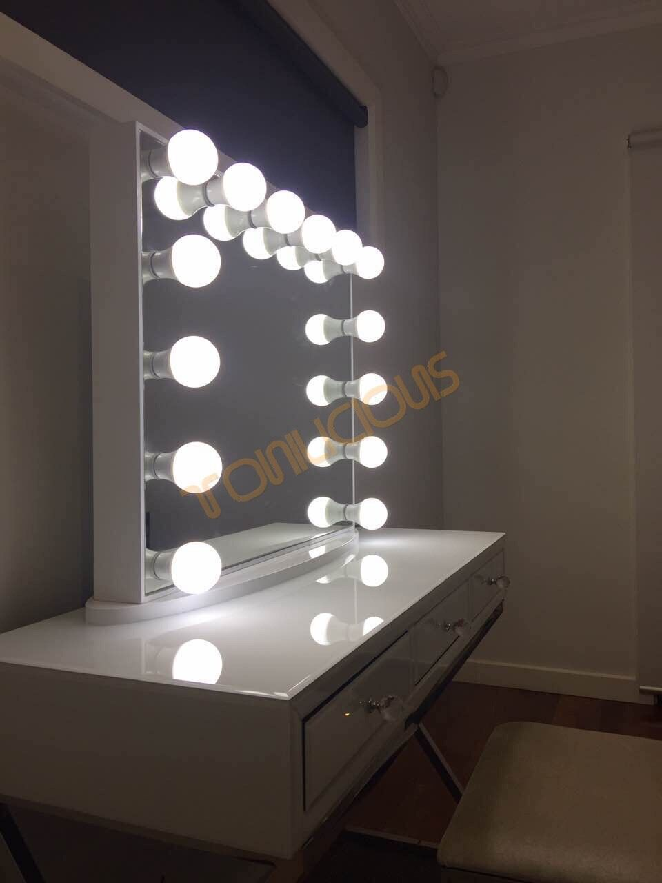 Makeup Mirror.Details About L Frameless White Hollywood Vanity Beauty Makeup Mirror With Dimmable Led Lights