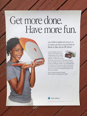"""Authentic Apple Computer Store POSTER -- """"Have More Fun"""" -- Rare - YEAR 2000 -"""