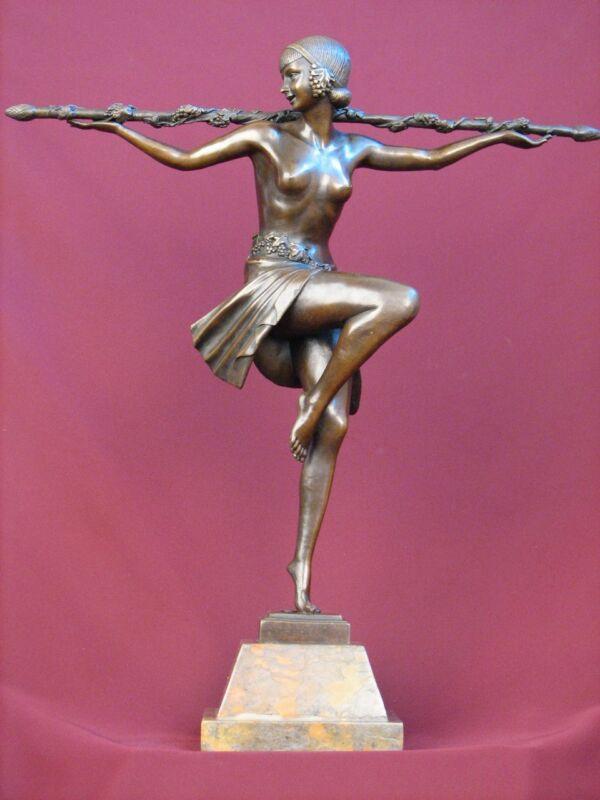 "22""  SIGNED BRONZE STATUE ART DECO DANCER DETAILED SCULPTURE ON MARBLE BASE"