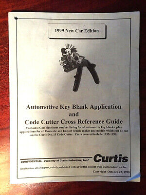 Vintage Curtis Key Blank Application Code Cutter Cross Reference Guide 1998