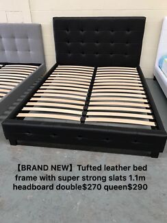 【Brand New】leather bed with super strong slats double$270 queen$290