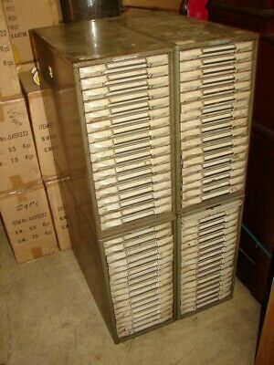 4 Vtg Stacking Remington Rand Kardex 17 Tray Metal Card Cabinet Industrial