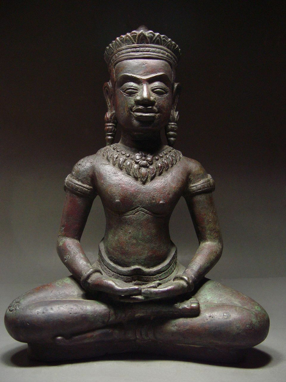 LOPBURI PERIOD KHMER BRONZE CROWNED BUDDHA, TEMPLE RELIC. 15th CENTURY