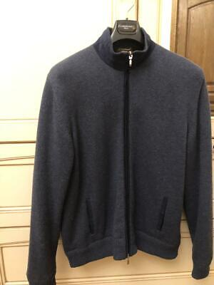 Doriani blue 100shmere 3xl 58 jacket bomber with zip suede