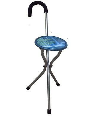 portable folding chair cane walking stick camp & hiking
