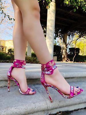 Floral Satin Multi Color Open Toe Stiletto High Heel Dress Sandals Shoes Floral Open Toe