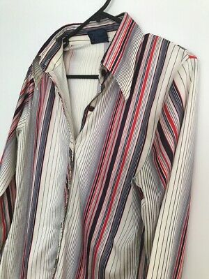 1970s Mens Shirt Styles – Vintage 70s Shirts for Guys Vintage 1970's Men's Striped Wide Collar Polyester Shirt $27.12 AT vintagedancer.com