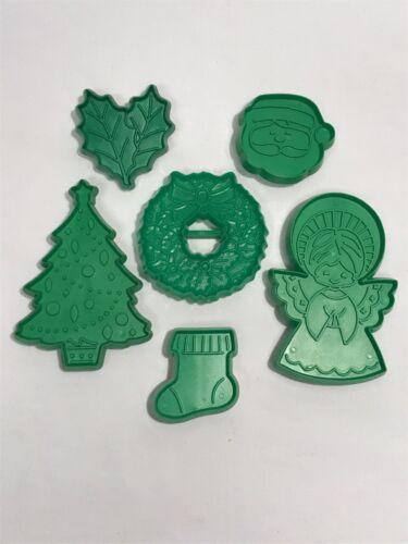 6 Vintage Hallmark Green Plastic Christmas Cookie Cutters