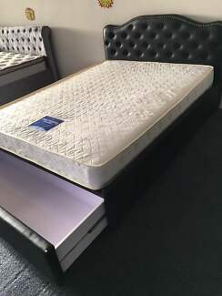 Brand New Solid PU Leather Bed With Drawer D/Q Sizes