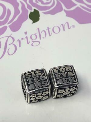 2 Brighton FOREVER  SISTERS  CUBE crystal/hearts  BEAD / CHARM / SPACER nwot Forever Heart Bead