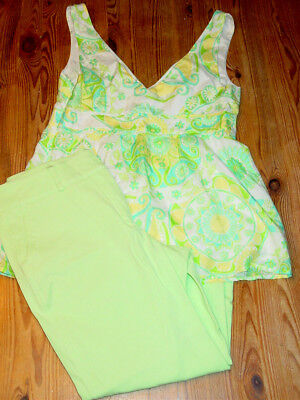 Green Cropped Pant Set (Lilly Pulitzer lime green pants cropped capris floral paisley print top set-4 )