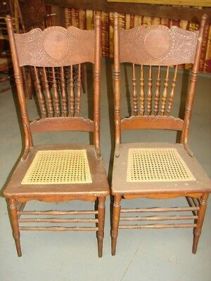 (2 Antique Pressed Back Chairs Pretty Press - Hole Cane Old Finish Restoration  )