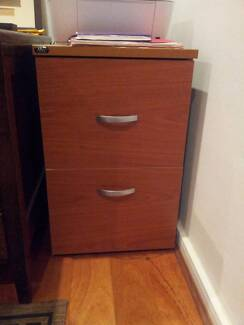 Sturdy Timber Brown Two Drawer Filing Cabinet Office - As New