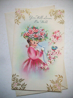 Unused Girl in big flower hat w blue bird Get well vintage greeting card *1N