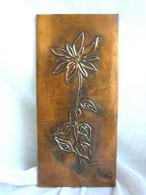 60J. Wandbild Bild  EDELWEIß Kupfer Prägung Handarbeit 23,5 x 11cm