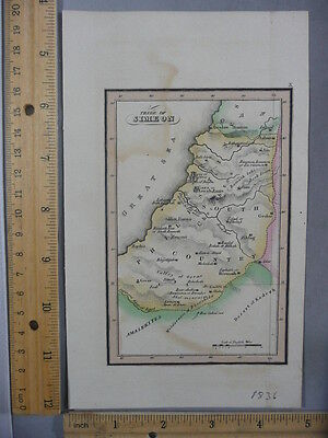 Rare Antique Orig VTG 1836 Leavitt Lord & Co Tribe Of Simeon Map Engraved Print