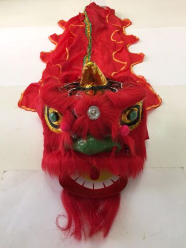 """CHINESE NEW YEAR LION DRAGON HEAD DANCE 13"""" RED USA SELLER"""