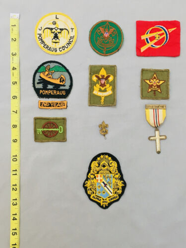 Mixed Lot 11 Boy Scout Insignia Patches Badges Pomperaug Council CT 60+ Yrs Old