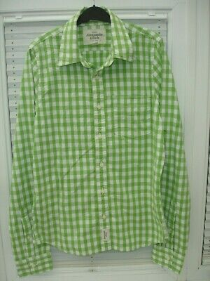 Abercrombie & Fitch Shirt Green White Check Mens size L