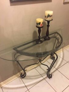 Glass table and mirror set