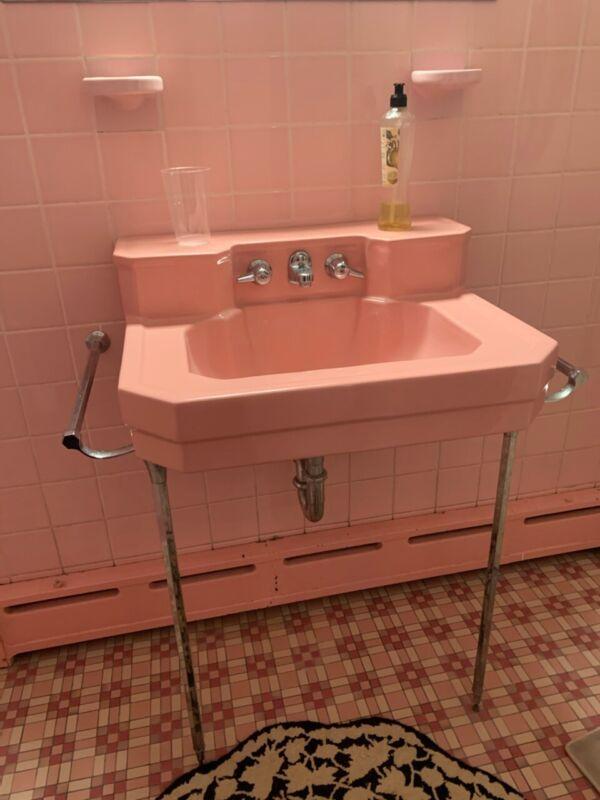 Vintage Porcelain Bathroom Sink - Pink - With Faucet And Handles / Pedestal 1950