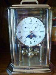Longines moonphase double date anniversary mantle motion rhythm clock - RARE!