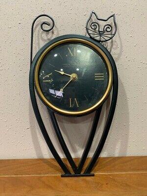 Vintage Firstime Manufactory Metal Black Cat Clock US shipping