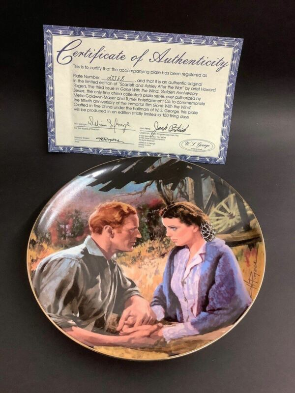 """1988 Gone With The Wind """"Scarlett & Ashley After The War"""" By Howard Rogers Plate"""