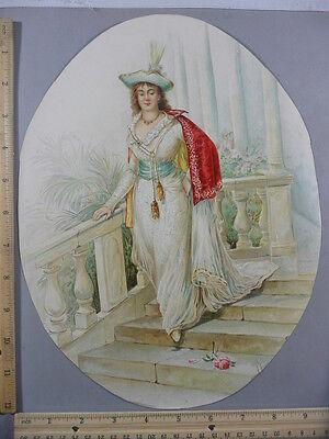 Rare Antique Original VTG Gowned Lady Walking Down Steps, Flower Litho Art Print Walking Down Steps