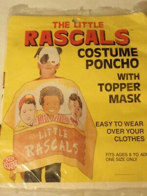 Vintage Little Rascals Costume Poncho with Topper Mask 1987