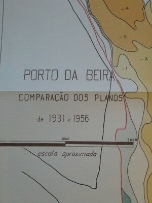 Vintage Comparison Of Plans The Beira Port 1931-1956 Proximal Scale VGC