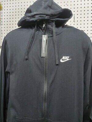 Men's NIKE Black Full Zip Hoodie NEW Size Large Tall Embroidered Embroidered Full Zip Hoodie