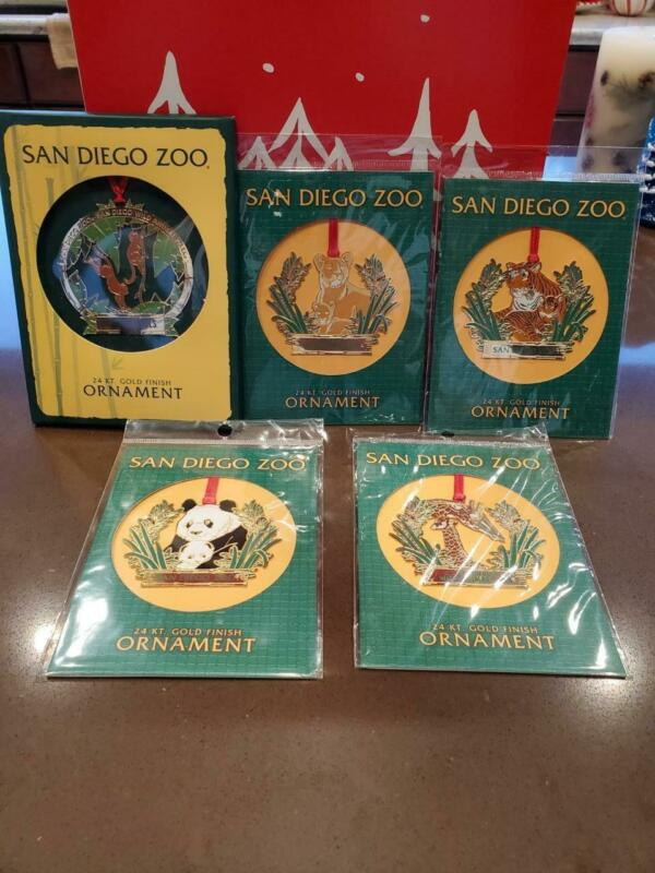5 San Diego Zoo 24 Kt Gold Finish Metal Ornaments
