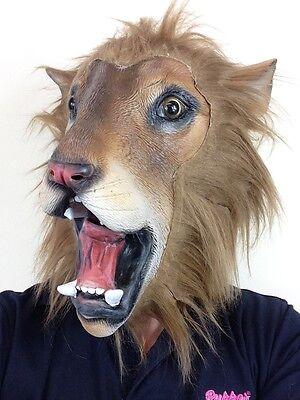 Latex Leone Maschera Safari Zoo per Tutta la Testa Animale Gatto Costume Re