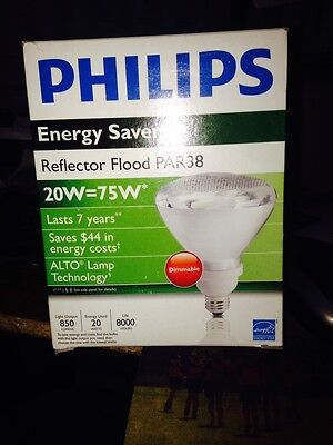 - Philips CFL Bulb  20W=75W Par38 Dimmable- Last 7 Years! Energy Saver!