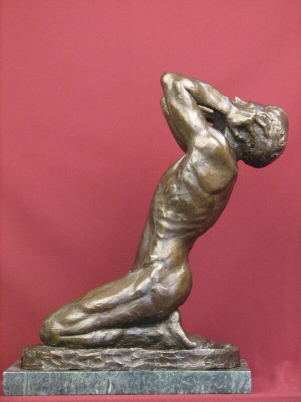 SIGNED BRONZE SCULPTURE NUDE MALE ALLEGORICAL LIMITED EDITION STATUE ON MARBLE