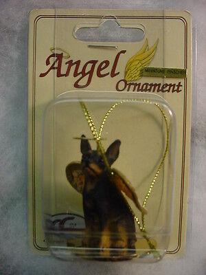 MIN PIN dog ANGEL ORNAMENT Figurine NEW Christmas black MINIATURE PINSCHER puppy