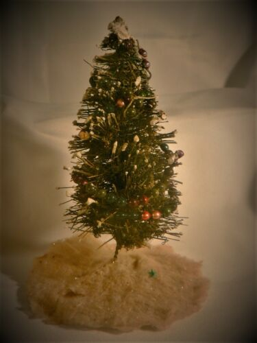 "Antique Christmas Tree Miniature 7"" Bottle Brush Flocked Blown Glass garlands"