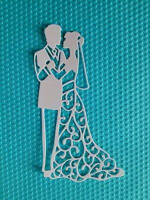 6 x Stanzteile Brautpaare Kartenschmuck Kartenaufleger Scrapbooking Papier