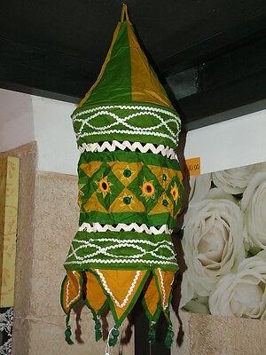 Post Chandelier Lampshade Lantern Cotton Green Mustard Ethnic India CM 75